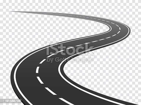 istock Winding road. Journey traffic curved highway. Road to horizon in perspective. Winding asphalt empty line isolated concept stock illustration 1191686709