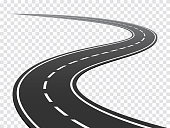 Winding road. Journey traffic curved highway. Road to horizon in perspective. Winding asphalt empty line isolated concept stock illustration