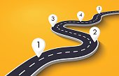 Winding Road on a Colorful Background with Pin Pointers. Road way location infographic template with pin pointer. Vector EPS 10