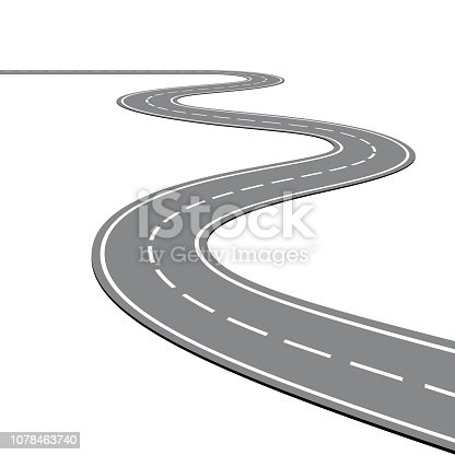 istock Winding Road on a White Isolated Background 1078463740