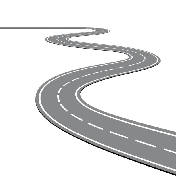 ilustrações de stock, clip art, desenhos animados e ícones de winding road on a white isolated background - road