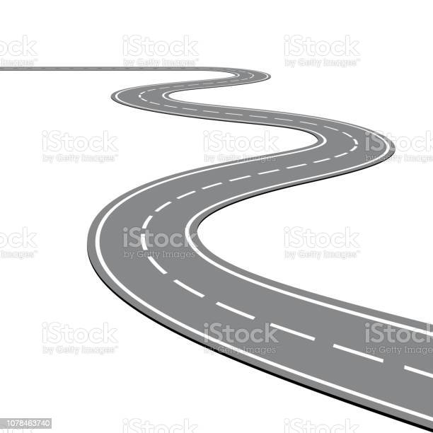Winding Road On A White Isolated Background - Immagini vettoriali stock e altre immagini di Affari