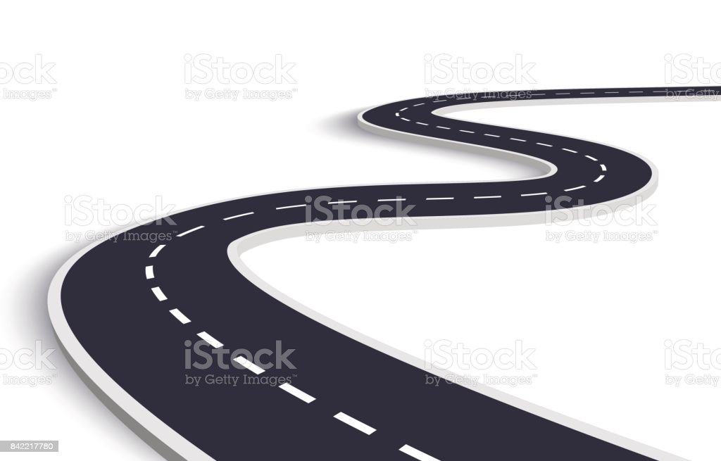 Winding Road on a White Isolated Background