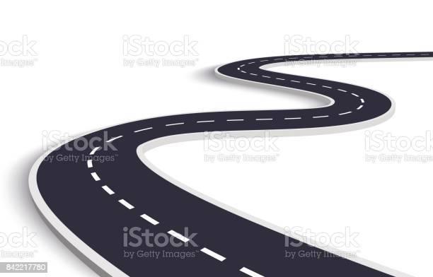 Winding Road On A White Isolated Background - Immagini vettoriali stock e altre immagini di Affari