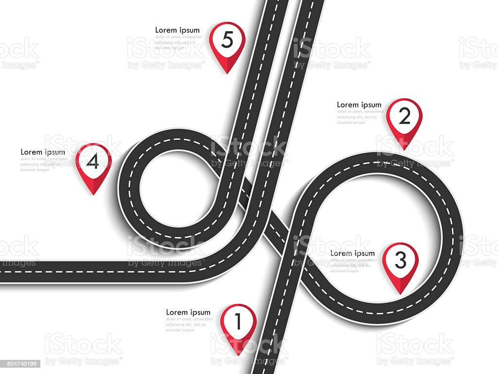 Winding Road on a White Isolated Background with pin pointer vector art illustration