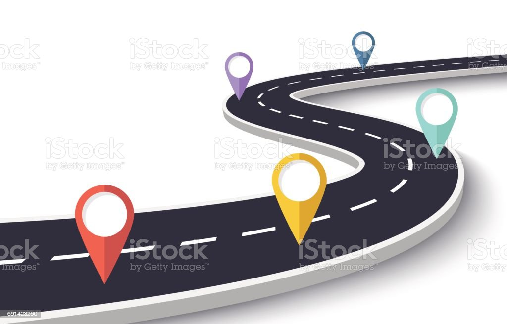 Winding Road on a White Isolated Background with Pin Pointers vector art illustration