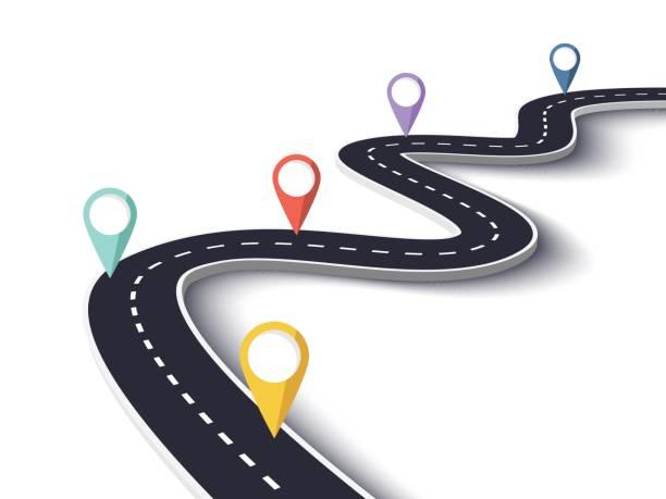 stockillustraties, clipart, cartoons en iconen met kronkelende weg op een afgelegen witte achtergrond met pin-pointers - roadmap