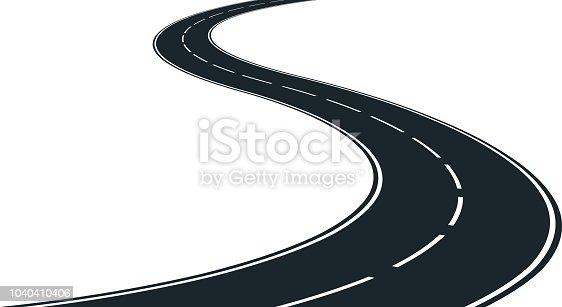 isolated winding road - clip art illustration