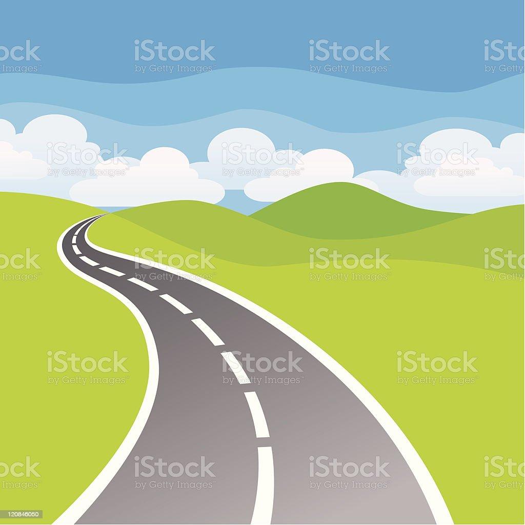 Winding Road vector art illustration