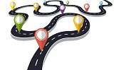 Winding road with pin pointer  vector illustration. Progress concept