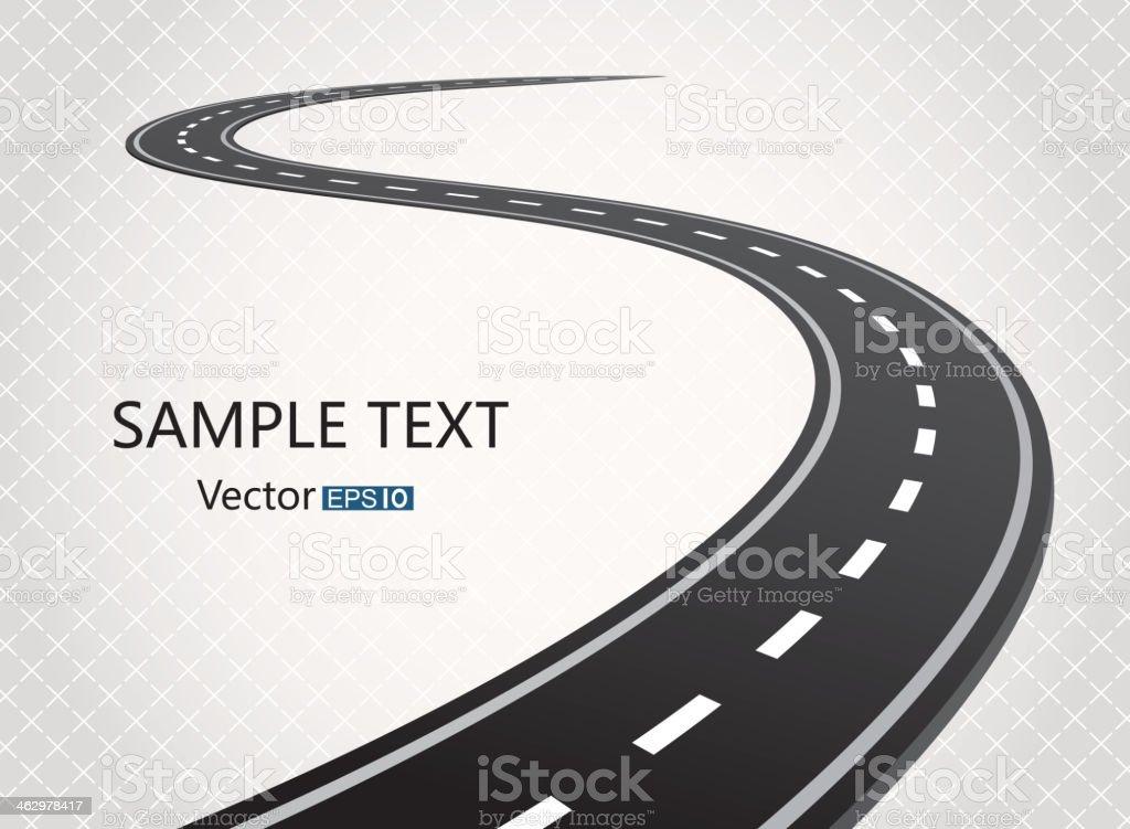 Winding single carriageway road vector art illustration