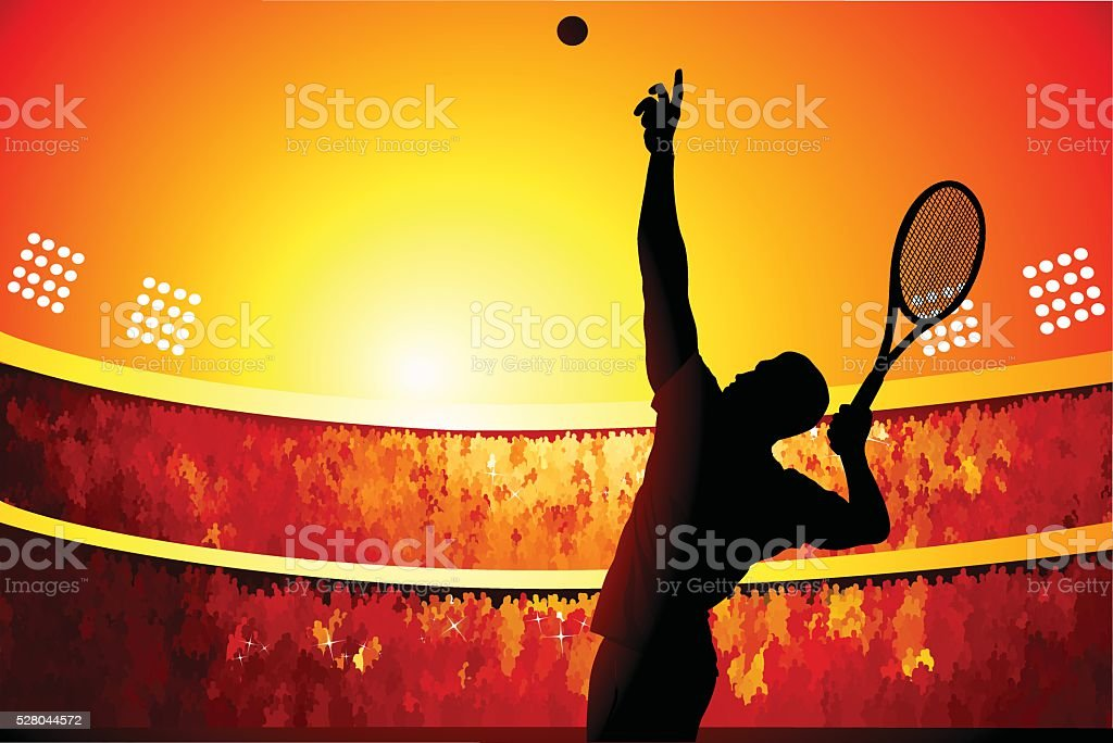 Winding up for the serve vector art illustration