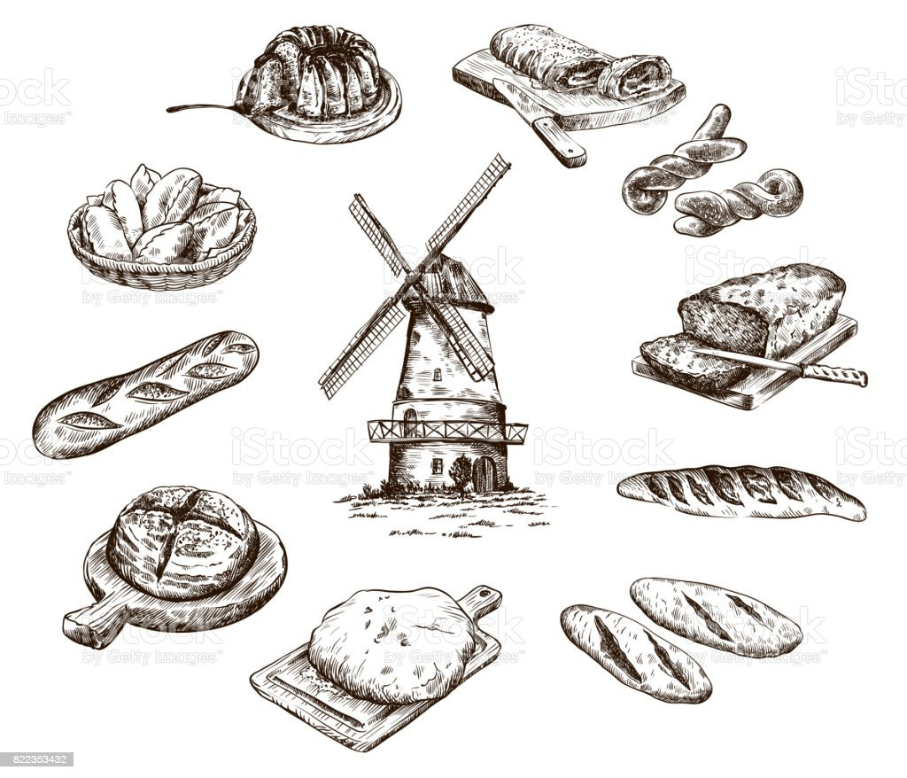 windmill and fresh bakery products. homemade baking. bakery products. vector sketch on white vector art illustration