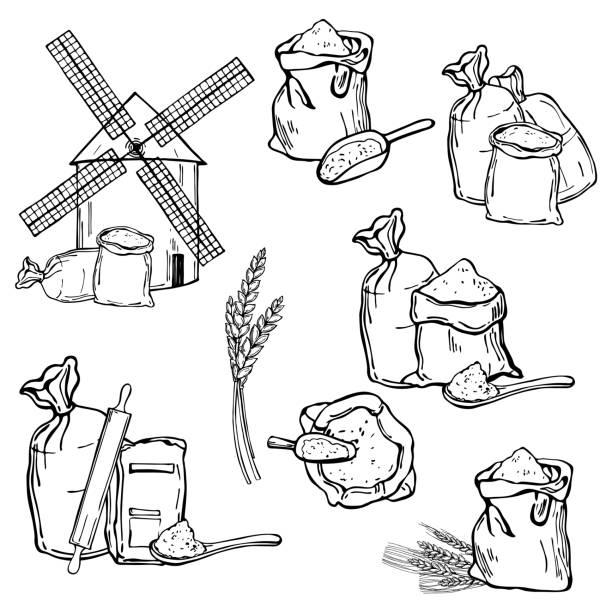 ilustraciones, imágenes clip art, dibujos animados e iconos de stock de molino de viento y harina de trigo. ilustración vectorial. - conceptos y temas