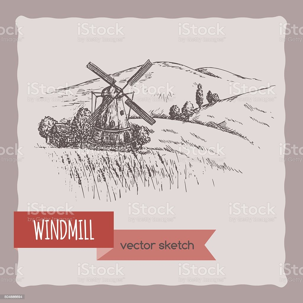 Windmill, barn, field and hill landscape hand drawn vector sketch. vector art illustration