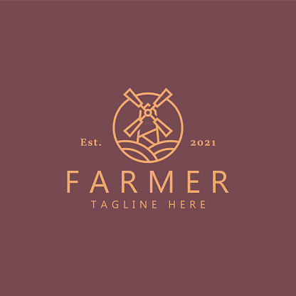 Windmill Country Agricultural Farmer Logo