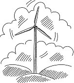 Line drawing of Windmill. it is single layered and grouped contains eps10 and high resolution jpeg.