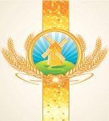 windmill & wheat, golden bright emblem; layered vector artwork