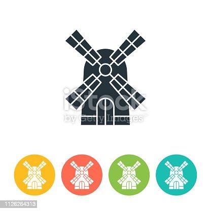 Windmill flat icon - color illustration