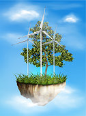 Windmill for energy. A tree on a piece of the island. Vector illustration.