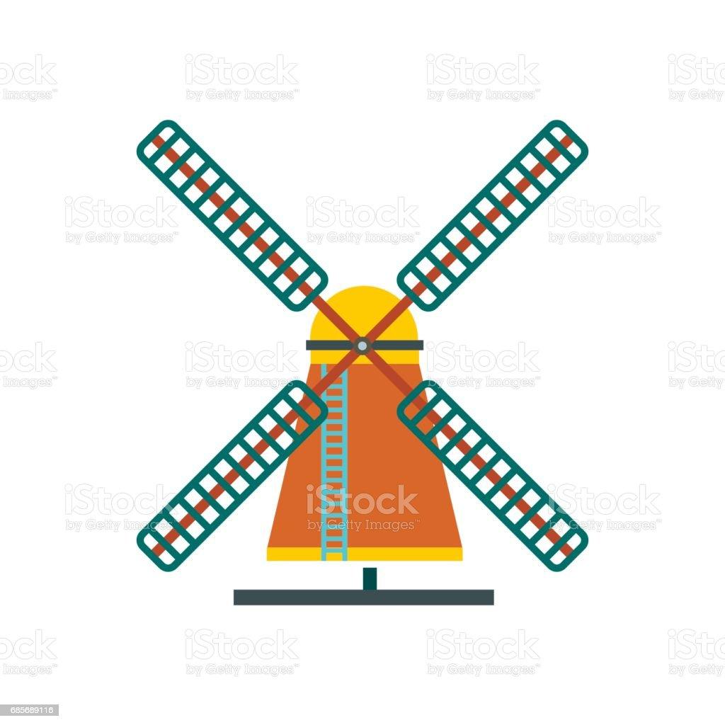 風車圖示,平面樣式 免版稅 風車圖示平面樣式 向量插圖及更多 俄羅斯 圖片