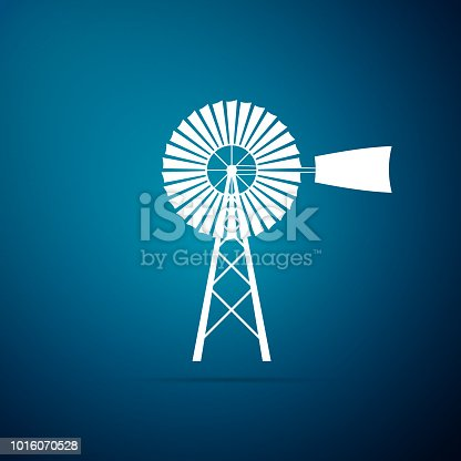 Windmill icon isolated on blue background. Flat design. Vector Illustration