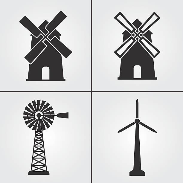 stockillustraties, clipart, cartoons en iconen met windmill icons - windmolen