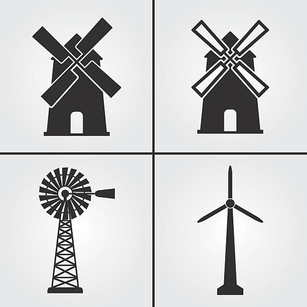 windmill icons - rüzgar değirmeni stock illustrations