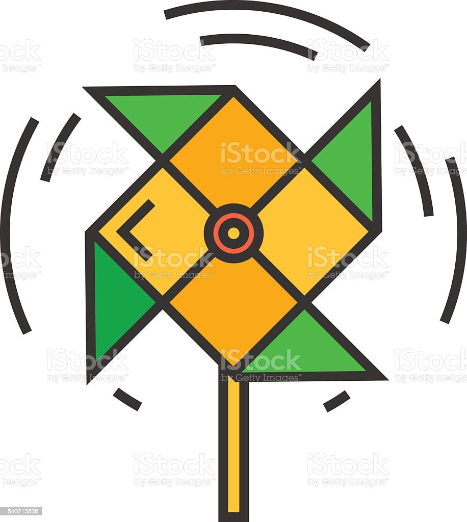 Windmill Line Icon vector art illustration