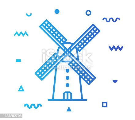 Windmill outline style icon design with decorations and gradient color. Line vector icon illustration for modern infographics, mobile designs and web banners.