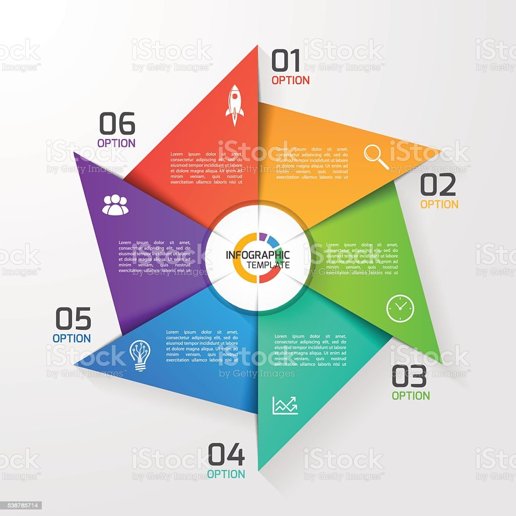 Windmill style circle infographic template for graphs, charts vector art illustration