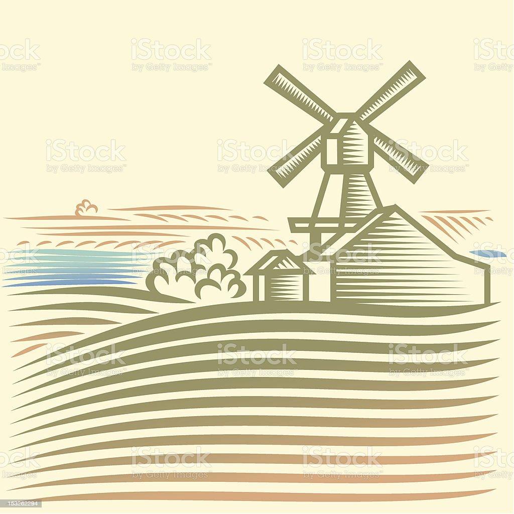Windmühle – Vektorgrafik