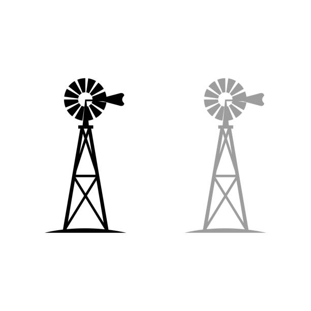 stockillustraties, clipart, cartoons en iconen met windmolen - windmolen
