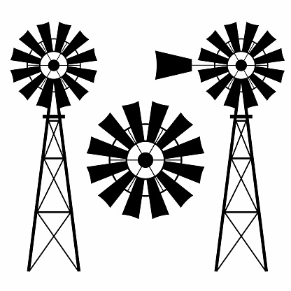 A collection of windmill silhouettes on a white background.