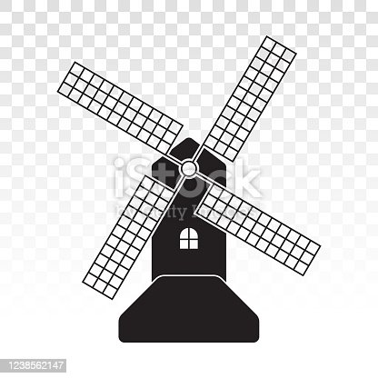 Windmill / wind turbine flat icon for apps or website