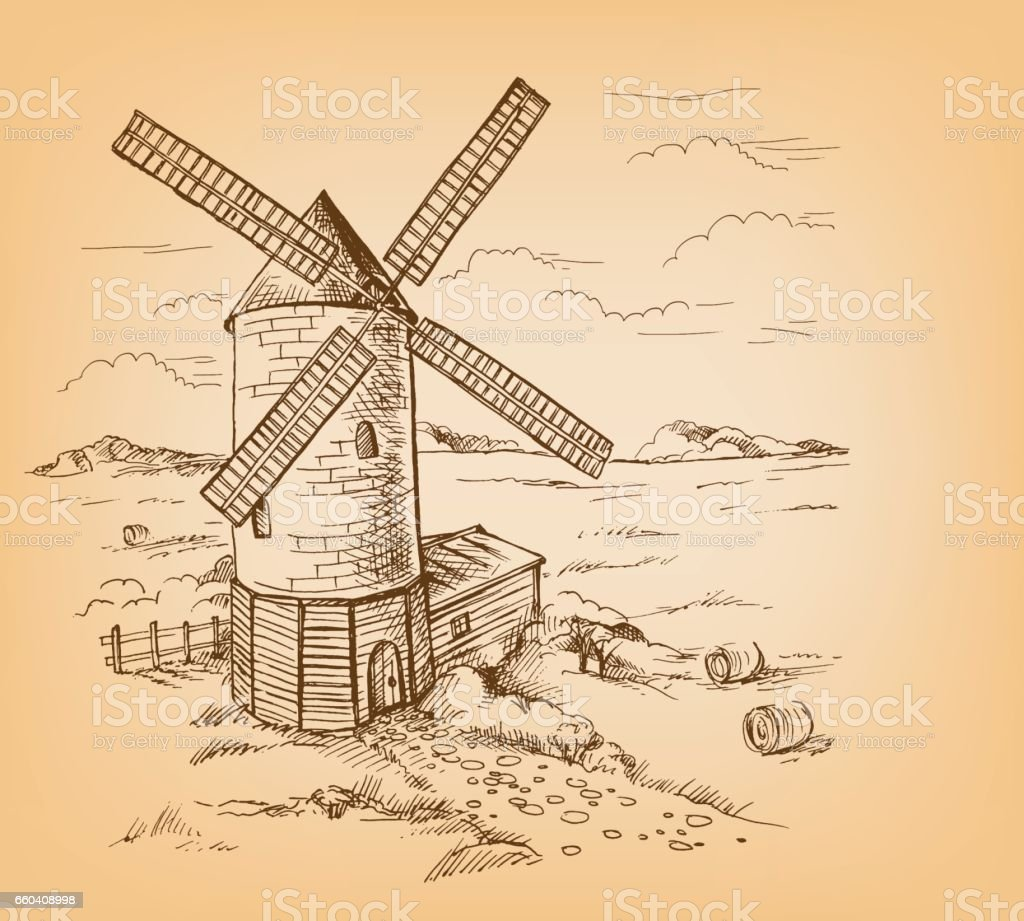 Windmill with Wheat Fields vector art illustration