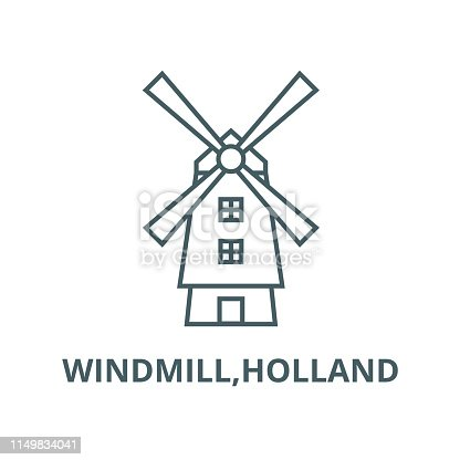 Windmill,holland vector line icon, outline concept, linear sign