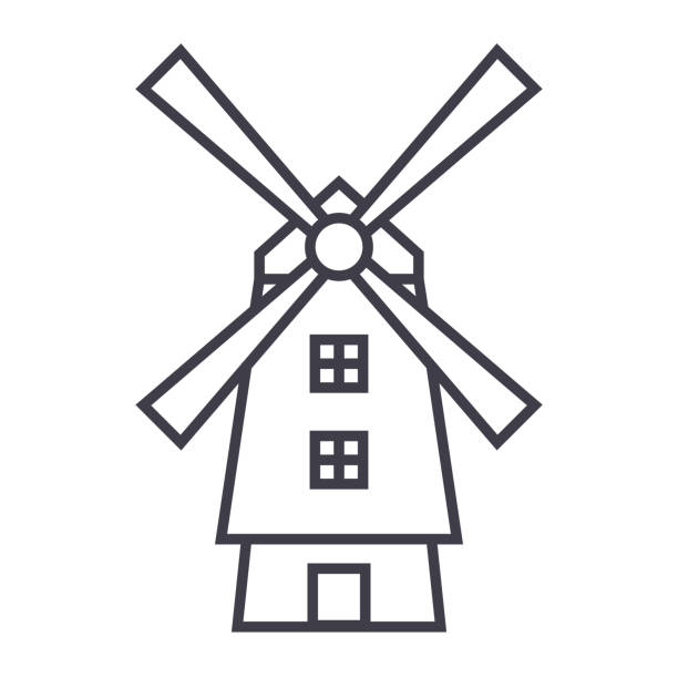 windmill,holland vector line icon, sign, illustration on background, editable strokes - holandia stock illustrations