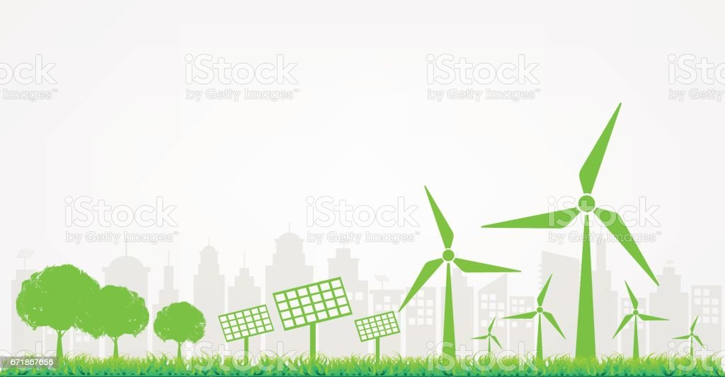 Windmills and Solar cells for generating electricity power for green city vector art illustration