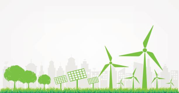 Windmills and Solar cells for generating electricity power for green city Windmills and Solar cells for generating electricity power for green city. Sustainable energy concept, Vector illustration sustainable energy stock illustrations