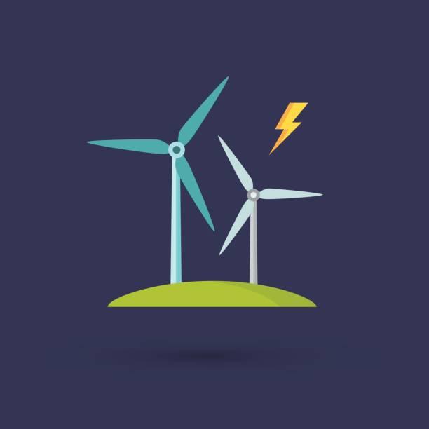 stockillustraties, clipart, cartoons en iconen met windmolens voor elektriciteitsproductie - windmolen