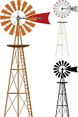 Vector illustration of a windmill in two color variations and silhouette. Illustration uses no gradients, meshes or blends, only solid color. Each windmill is on its own layer, easily separated from the others in program like Illustrator, etc. Both .ai and AI8-compatible .eps formats are included, along with a high-res .jpg, and a high-res .png with transparent background.