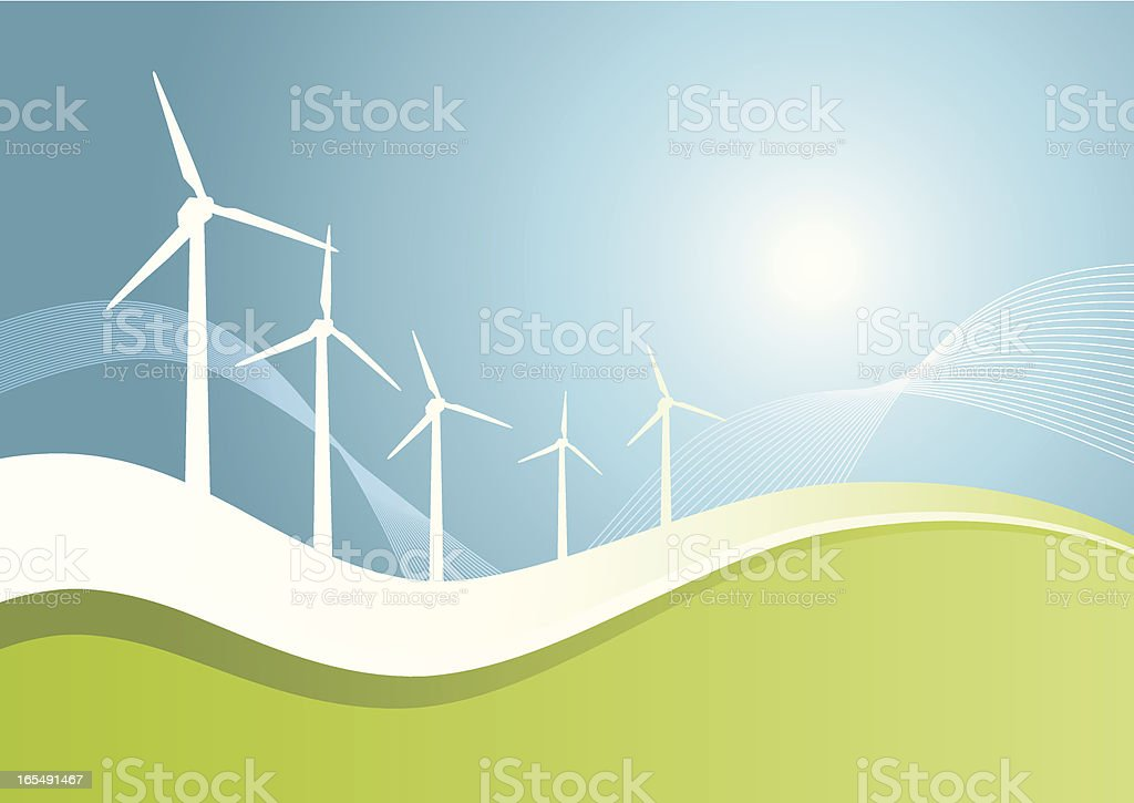 windmills_greenwave_2 royalty-free windmillsgreenwave2 stock vector art & more images of blue