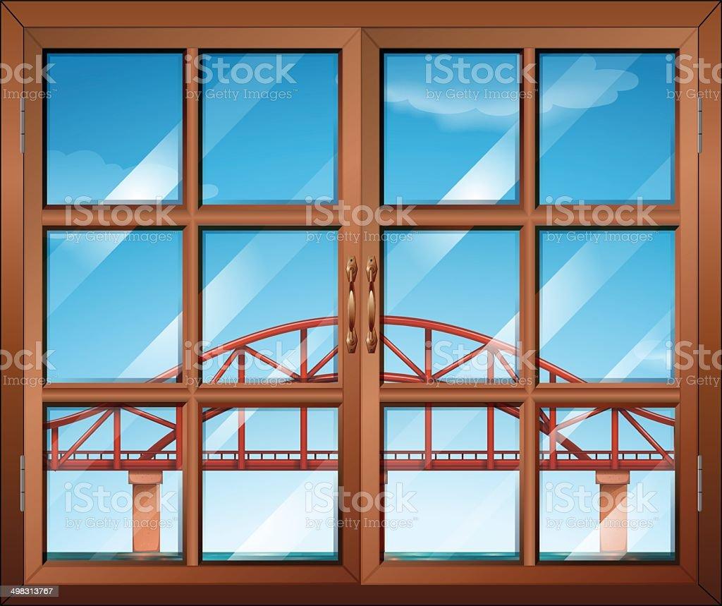 Window across the bridge vector art illustration