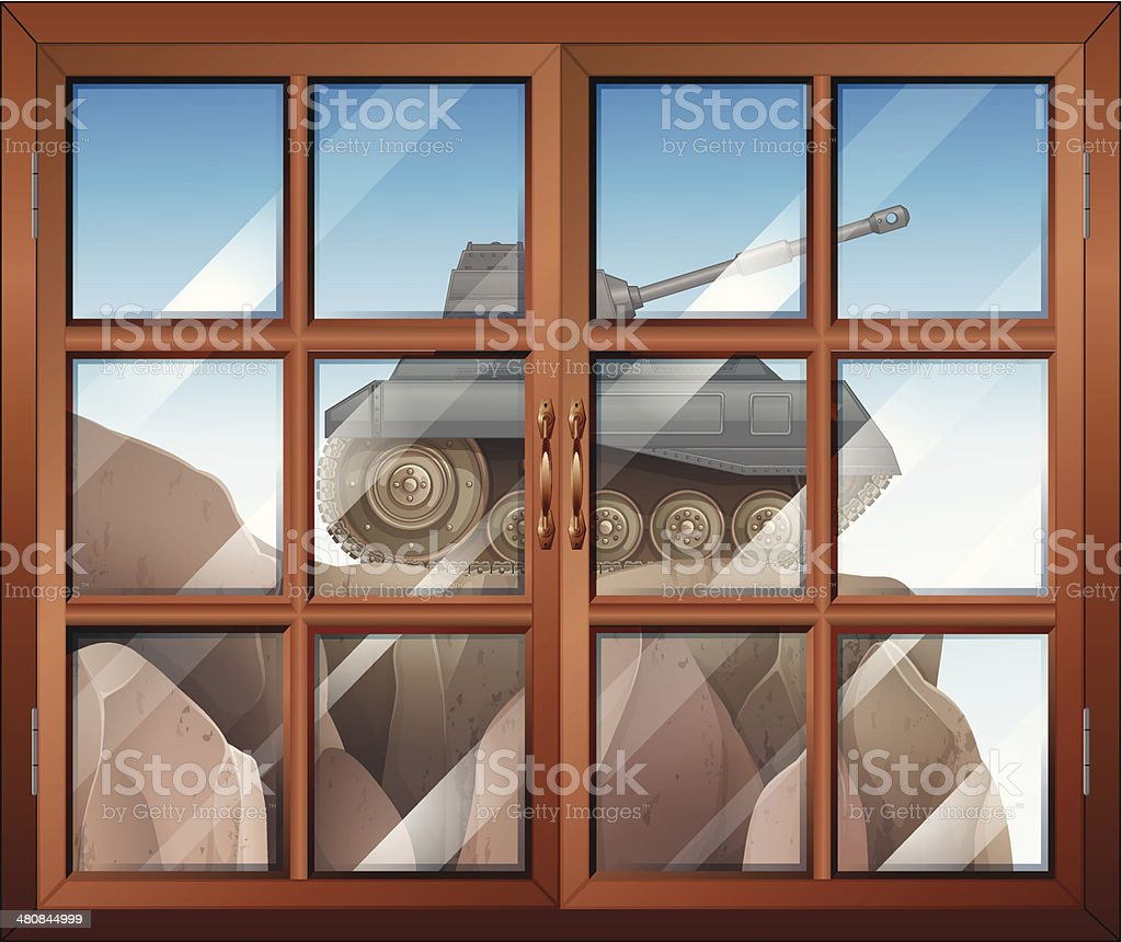Window across the cliff with a tank royalty-free window across the cliff with a tank stock vector art & more images of air duct