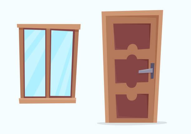 Window and door. Window and door. Flat cartoon style vector illustration. vehicle door stock illustrations
