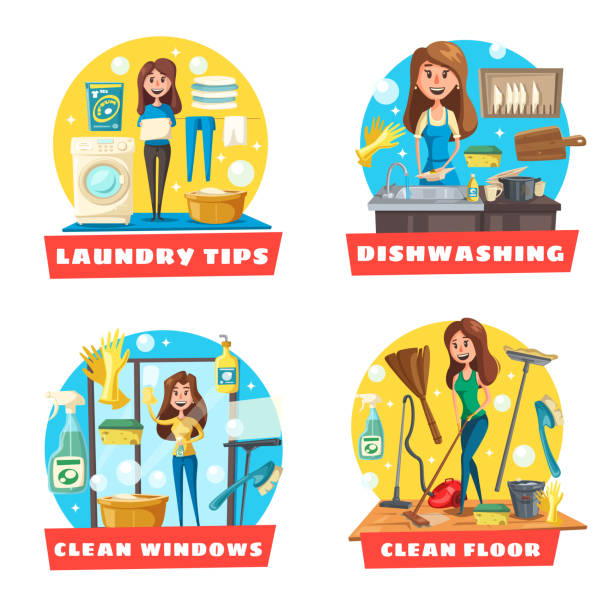 Best Washing Dishes Illustrations Royalty Free Vector: Best Mom Washing Dishes Illustrations, Royalty-Free Vector