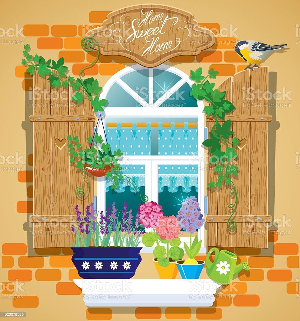 Janela e flores com nassas, Pássaro tomtit. Temporada de verão. - Royalty-free Abrir arte vetorial