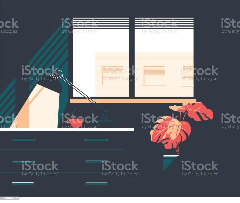 Window and interior apartment vector art illustration