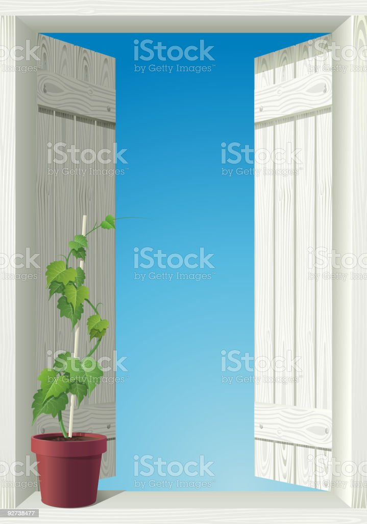 window and sky. vector art illustration